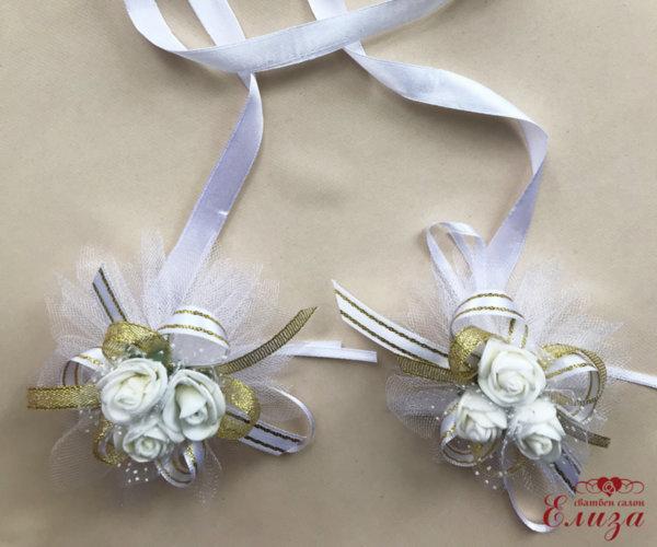 Сватбена украса за свещи и чаши в златно и бяло N11
